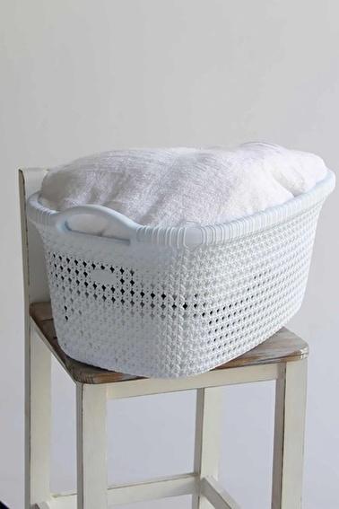 Arma House Örgü Desenli Beyaz Rengi 2 Li Plastik Eko Çamaşır Sepeti Beyaz